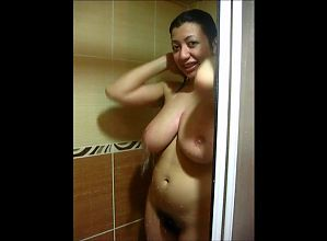 Egyptian hairy big boobs girl Nermeen in shower
